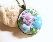 Flower Garden Necklace, Mother's Day Gift, Summer Jewelry, Purple Lavender Blue, Floral Jewelry, applique embroidery artisan polymer clay