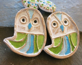 Owlie Earrings in Blue and Green