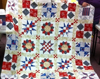 Quilt Pattern for beginners, Queen size sampler quilt instructions, PDF pattern, learn to do patchwork techniques, Pattern for large quilt