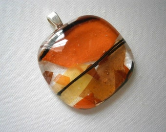 Fused Glass Pendant in Orange Shards by Willow Glass, Glass Jewelry, Glass Pendant