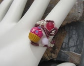 Pink Frosting Cupcake Bead Copper Ring with Pink and White Adjustable Fun Ring