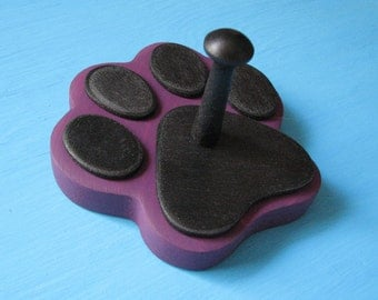 Dog Leash Holder PURPLE Wild Iris  - Wood Paw Print Peg Hook