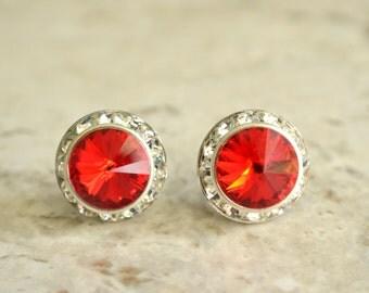 Mirabelle - Red Swarovski Rhinestone Stud Earrings