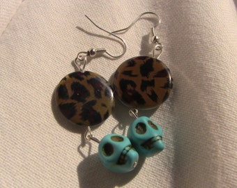 Leopard and sky blue skull earrings