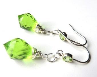 Silver Peridot Drop Earrings, Lime Green Quartz, Modern Wire Wrapped, August Birthstone Jewelry,  Chandelier, Spring Green Jewelry