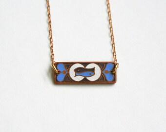 Pisces Zodiac Necklace / Vintage Enamel / Art Nouveau