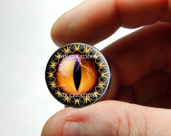Glass Eyes - Orange Tribal Dragon Eyeball Cabochon for Pendant Earring Ring Blanks - Pair or Single - You Choose Size