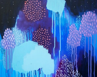 Hold Back The Night, Limited Edition Fine Art Print, abstract painting by clair bremner