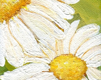 Shasta Daisy Painting mini painting,  Original on green canvas,  easel, 3 x 3