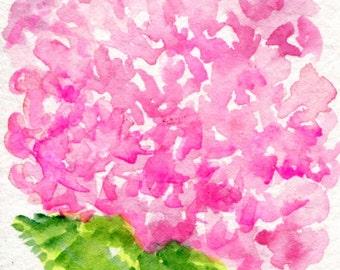 ACEO original Pink Hydrangea Watercolors Paintings, Hydrangea Art Card hydrangea painting, miniature painting, SharonFosterArt