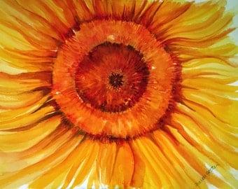 Sunflower Watercolor Painting, Sunflower wall art, original art, sunflower artwork, Sunflower decor, 9 x 12 SharonFosterArt floral  florals