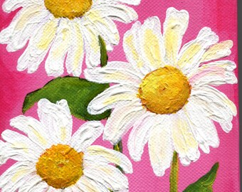 White Shasta daisies acrylics painting on pink canvas, Small Floral Wall Art, 5 x 7, pink and white daisies, acrylic painting canvas art