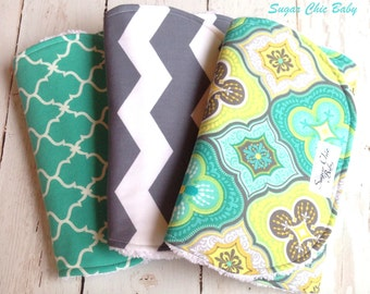 Baby Burp Cloths  -  Gender Neutral Burp Cloths - Set of 3 Triple Layer Chenille  - Moroccan Teal, Gray and White Chevron & Teal Quatrefoil