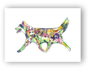 Siberian Huskies art - Siberian Husky Silhouette Watercolor fine Art sled dog print