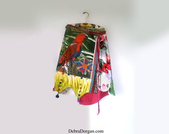 Parrot Wrap Skirt, Flowers, Patchwork, Stripes, Recycled, Red, Green, Yellow, Bird, Rustic, Boho, Pompoms