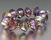 Lampwork Bead Bicones by Killerbeedz1 - Aurae Sparklers 20/30 - (6) Handmade Beads