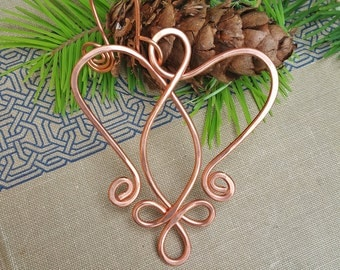 Copper Celtic Angel Heart Ornament - Christmas Holiday Ornament,  Wire Handmade Gift - Celtic Heart Decoration, Home Decor, Angel Ornament
