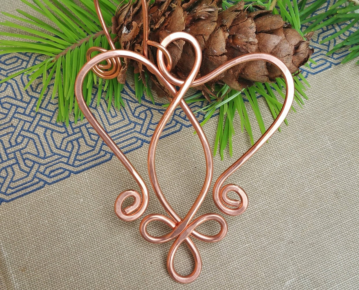 Copper Celtic Angel Heart Ornament Christmas Holiday