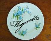 Mignotta hand painted vintage bone china bread and butter plate with hanger Italian whore display SALE
