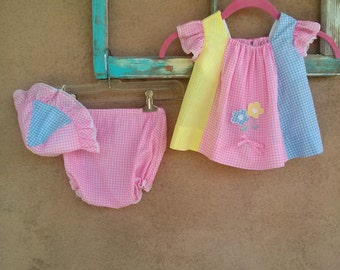 Vintage 1960s Pinafore Dress Baby Sundress Pastel Gingham 6 to 9 Months Toddler