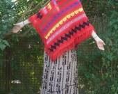 Vintage STRIPED Knit Fringed Poncho Cape osfm