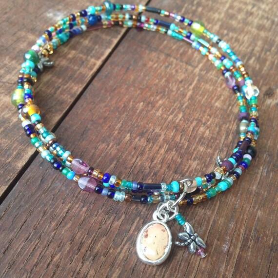 Cork Beads: Beaded Bangle Bracelet With Recycled Wine Cork Charm
