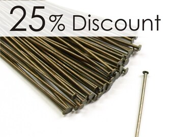 HPBAB-5021 - Head Pin, 2 in/21 ga, Antique Brass - 500 Pieces (10pk)