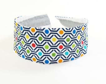 Reversible Fabric Hard Headband in Bright Dots and Gray Stripe
