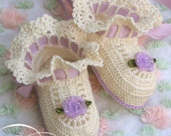 Boutique Crochet Ballet Slippers Baby or Doll Booties