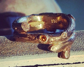 Twig ring in 14k gold with citrine size 8 1/2 -Elvish