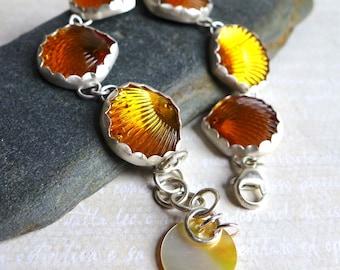 Vintage Yellow Glass Scallop Seashell Bracelet, Yellow Glass Jewel Sterling Silver Bracelet, OOAK Vintage Sew On Jewel Novelty Jewelry