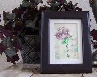 Encaustic and beeswax painting of mauve pink flower matted and framed