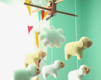Free US Ship Musical Baby Mobile Counting, Farm Baby Sheep Theme, Hanging Mobile for Baby Crib, Modern Nursery Decor, Kids Playroom decor