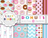 50% off Donut digital paper with donuts, milk bottles, for birthday invites, scrapbooking, Instant Download commercial use