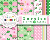 50% off sale Turtle digital papers for girls, kawaii, pink, stitched, stacked, flowers, Birthday Party, Instant Download