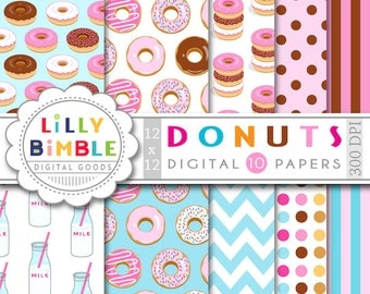 40% off Donut digital paper with donuts, milk bottles, for birthday invites, scrapbooking, Instant Download commercial use