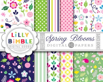 60% off SPRING BLOOMS floral digital paper with spring flowers with polka dots, stripes Instant Download