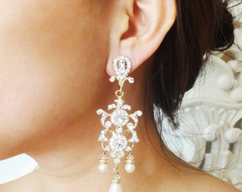 Chandelier GOLD Bridal Earrings, Gold Rhinestone Crest Bridal Earrings, Vintage Pearl Drop Wedding Chandelier Earrings, Natalia