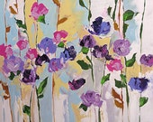 Abstract Floral Acrylic Painting Giclee Print Made To Order Violet Purple Pink Roses Impressionist Fine Art Print Wall Decor Linda Monfort