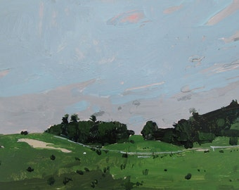 Valley Pasture, Original Small Landscape Painting on Paper, Stooshinoff