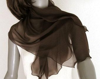 "Dark Brown Scarf Sheer Pure Silk Chiffon, Deep Chocolate Wrap, Small Petite Coverup Shawl, 21"" x 47"", Unique Artisan Handmade, Artinsilk"