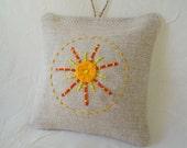 Sunburst Embroidered Linen Lavender Sachet