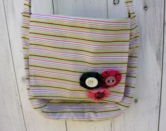"Cross Body Bag with Green and Pink Stripes, 11"" x 11"", messenger bag, shoulder bag, cross-body bag, purse, lightweight, handmade, OOAK"