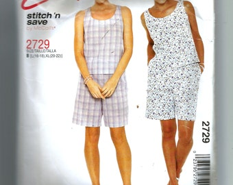 McCall's Misses' Top and Pull-On Shorts Pattern 2729