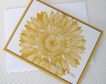Sunflower thinking of you card set (10) handmade friendship masculine gold brown stationery greeting