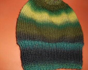 Hand knit knitted 100 % wool watchcap hat cap beanie men women teens green teal dark yellow one size olive