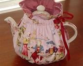 Tea cozy cosy reversible designer weight toile w. tea party handmade 6-8 cup