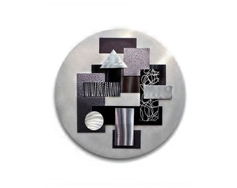 Silver & Black Abstract Metal Art - 3D Wall Sculpture - Round Metal Accent - Handmade Modern Wall Decor - Art of the State by Jon Allen