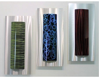 3 Piece Silver, Black, Yellow, Blue & Red Abstract Wall Sculpture - Modern Metal Art - Contemporary Accent - Sensory Overload by Jon Allen
