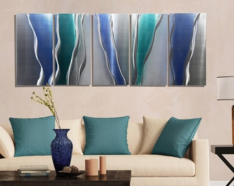 NEW! Blue, Silver & Teal Abstract Metal Wall Art - Modern Metal Painting - Wall Sculpture - Home Decor - Accent - Glacier Falls by Jon Allen